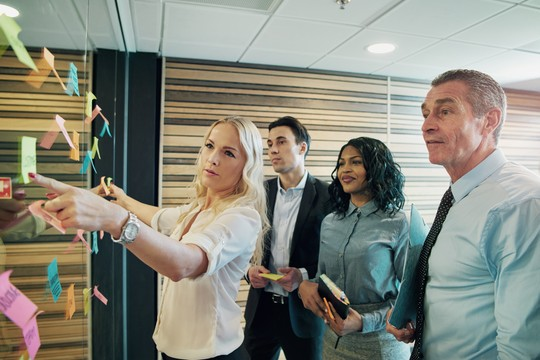 Team member providing information during internal check audit