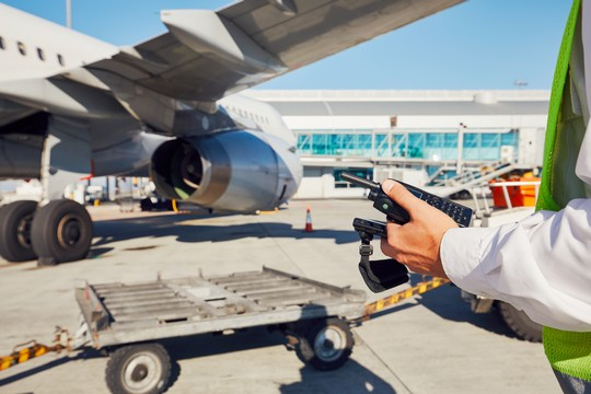 Airfield operations manager monitoring safety