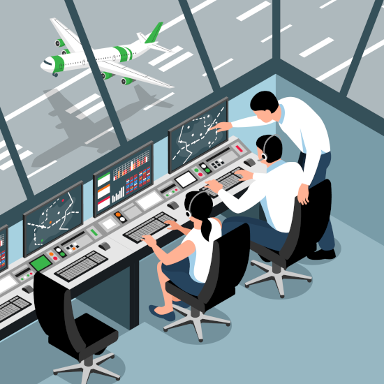 Three aerospace specialists working within Air Traffic Control unit