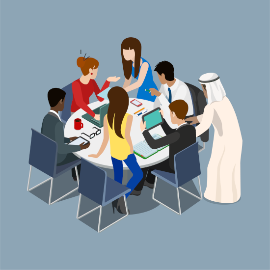 Multicultural team collaborating around conference table